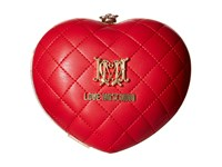 Love Moschino Heart Quilted Evening Clutch Red Clutch Handbags