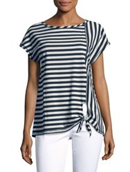 Jones New York Striped Knot Hem Top Ivory