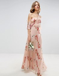 Asos Wedding One Shoulder Maxi Dress In Summer Rose Bouquet Print Multi