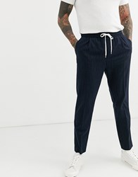 Weekday Thriller Joggers With Pinstripe In Navy