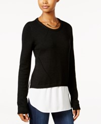 Amy Byer Bcx Juniors' High Low Layered Look Sweater Black