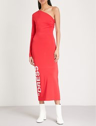 Off White C O Virgil Abloh One Shoulder Stretch Jersey Dress Red White
