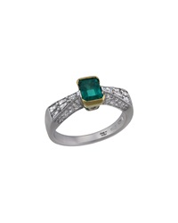 Damiani 18K Diamond And Solitaire Emerald Ring Size 7.5