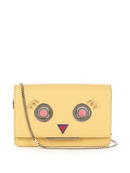 Fendi Round Eyes Leather Cross Body Bag Yellow Multi