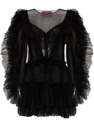 Viktor And Rolf Ruffled Tulle Mini Dress Black