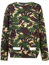 Off White Auction House Camouflage Print Sweatshirt Green