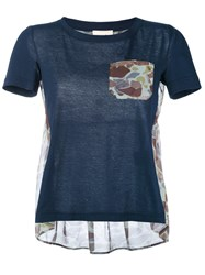 Semicouture Camouflage Print Panel T Shirt Women Cotton Polyester S Blue