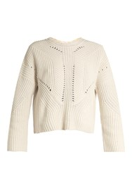 Isabel Marant Grifin Lace Up Back Cotton Blend Sweater Beige