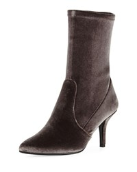 Stuart Weitzman Cling Stretch Velvet Sock Bootie Smoke