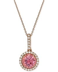 Macy's 14K Rose Gold And Sterling Silver Necklace Swarovski Crystal 1 1 8 Ct. T.W. And Pink Swarovski Zirconia 3 1 3 Ct. T.W. Pendant