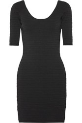 Elizabeth And James Lydia Textured Stretch Ponte Mini Dress Black