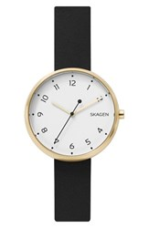 Skagen Women's Signatur Leather Strap Watch 36Mm Black White Gold