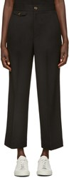 Helmut Lang Black High Waist Crop Trousers