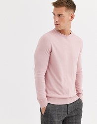 Ben Sherman Core Cotton Knitted Crew Neck Jumper Pink