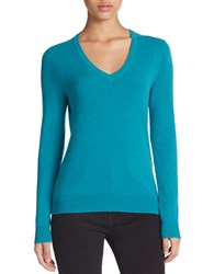 Lord And Taylor Plus Basic V Neck Cashmere Sweater Turquoise