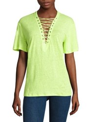 Iro Imis Lace Up Linen Tee Hot Pink Highlighter Yellow