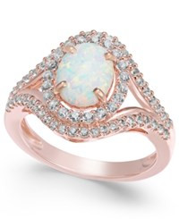 Macy's Lab Created Opal 1 Ct. T.W. And White Sapphire 3 4 Ct. T.W. In 14K Rose Gold Plated Sterling Silver