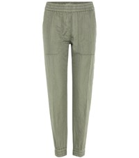 Closed Jason Linen And Cotton Trousers Green