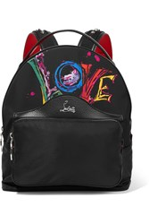 Christian Louboutin Backloubi Studded Textured Leather Trimmed Printed Shell Backpack Black