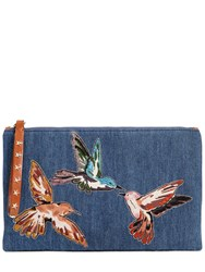 Red Valentino Denim Clutch W Bird Patches