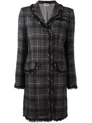 Thom Browne Windowpane Check Tweed Coat Grey