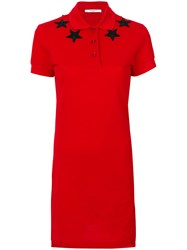 Givenchy Star Patch Polo Shirt Dress Women Cotton Polyester 36 Red