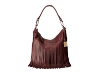 Frye Heidi Fringe Hobo Plum Soft Vintage Leather Hobo Handbags Brown