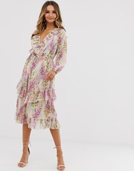 River Island Midi Dress With Ruffle Detail In Pink Floral Purple