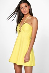 Boohoo Strappy Front And Neck Skater Dress Yellow