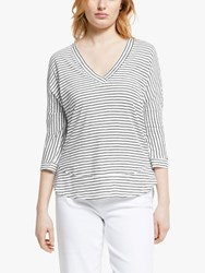 And Or Slouchy V Neck T Shirt Ivory Black Stripe