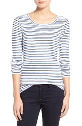 Women's Caslon Long Sleeve Scoop Neck Cotton Tee White Blue Stripe