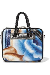 Balenciaga Blanket Floral Print Textured Leather Tote Blue