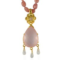 Emma Chapman Jewels Opium Rose Quartz Pendant Pink Purple