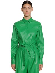 Msgm Faux Leather Shirt Green