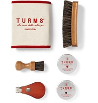 Turms College Shoe Care Kit With Leather Case Brown