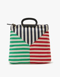 Clare V. Marcelle Canvas In Mariner Stripe Patchwork