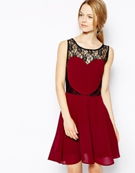 Sugarhill Boutique Hearty Party Lace Dress Burgundyblack