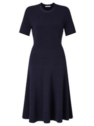 John Lewis Darcy Knit Fit And Flare Dress Navy