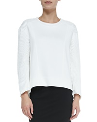 Helmut Lang Echo Jacquard Textile Sleeve Sweatshirt Optic White