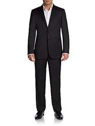 Saks Fifth Avenue Black Classic Fit Wool Two Button Tuxedo Black