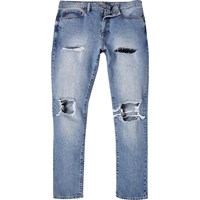 River Island Mens Light Wash Ripped Dylan Slim Jeans