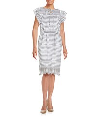 Lord And Taylor Embroidered Stripe Dress French Grey
