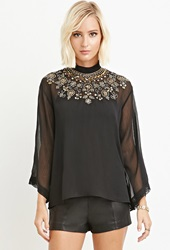Forever 21 Sequin Chiffon Top Black Copper