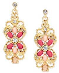Inc International Concepts Gold Tone Pink And Blush Stone Filigree Drop Earrings Only At Macy's
