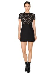 Valentino Studded Trim Lace And Crepe Dress