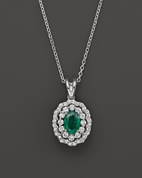 Bloomingdale's Emerald And Diamond Pendant Necklace In 14K White Gold 16