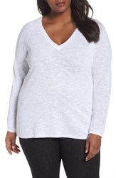 Eileen Fisher Plus Size Women's Organic Linen And Cotton Top White
