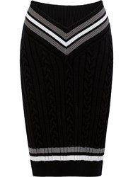 Y Project Cable Knit Pencil Skirt Black