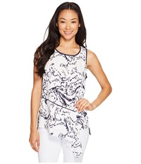 Ivanka Trump Printed Georgette Top With Solid Knit Back Ivory Navy Women's Sleeveless White