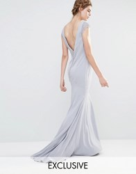 Jarlo Wedding Fishtail Maxi Dress With Lace Cap Sleeve And Button Back Silver Grey